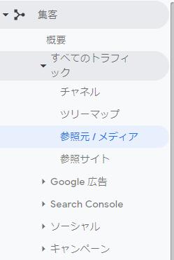 Googleアナリティクス メニュー