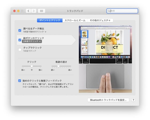 Trackpad in System Preferences